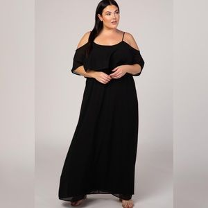 Chiffon Cold-Shoulder Layered Maxi Dress